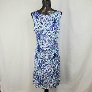 Tory Burch 100% Silk Blue Floral Cinch Waist Dress